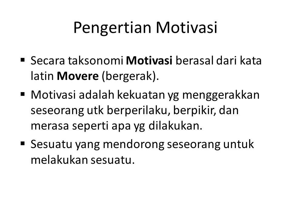 Pengertian Motivasi Secara taksonomi Motivasi berasal dari kata latin Movere (bergerak).