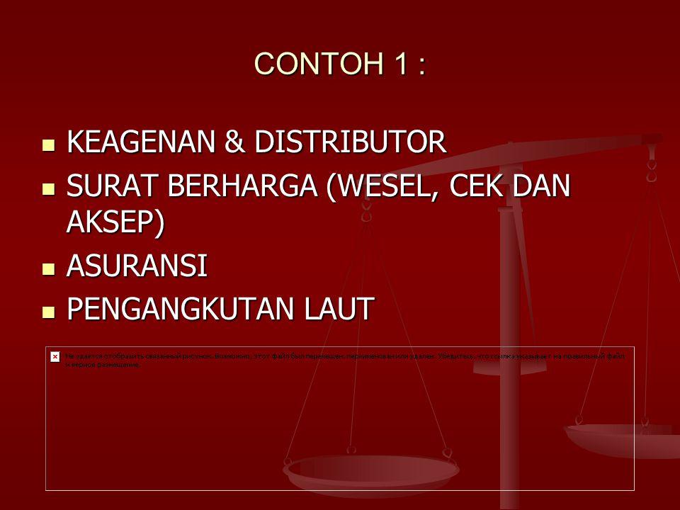 CONTOH 1 : KEAGENAN & DISTRIBUTOR SURAT BERHARGA (WESEL, CEK DAN AKSEP) ASURANSI PENGANGKUTAN LAUT