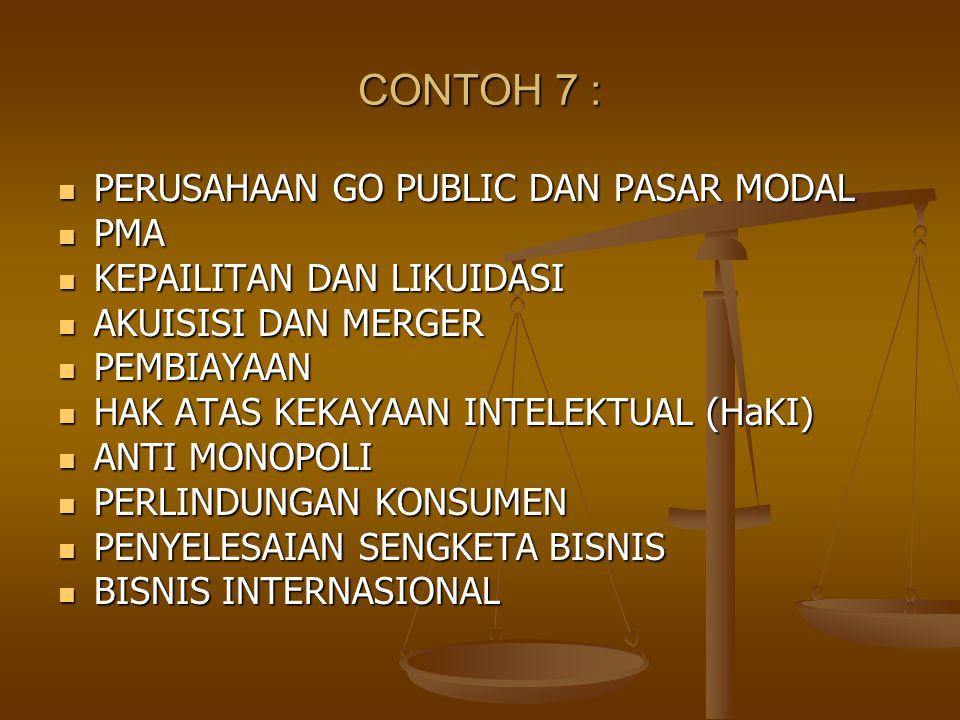 CONTOH 7 : PERUSAHAAN GO PUBLIC DAN PASAR MODAL PMA