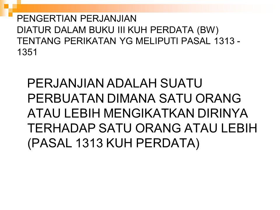 PENGERTIAN PERJANJIAN DIATUR DALAM BUKU III KUH PERDATA (BW) TENTANG PERIKATAN YG MELIPUTI PASAL 1313 - 1351