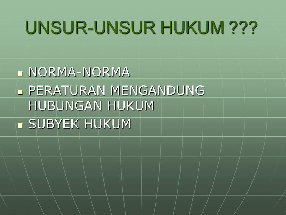 UNSUR-UNSUR HUKUM NORMA-NORMA PERATURAN MENGANDUNG HUBUNGAN HUKUM