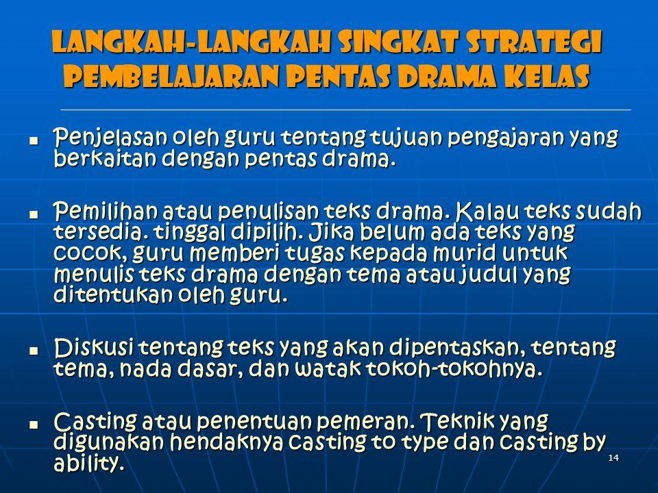Langkah-langkah singkat strategi pembelajaran pentas drama kelas