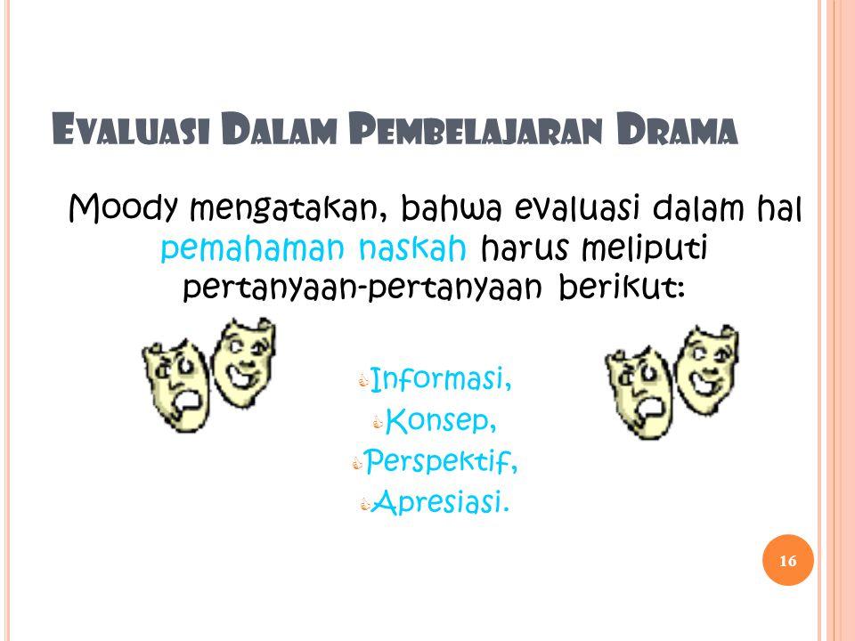 Evaluasi Dalam Pembelajaran Drama