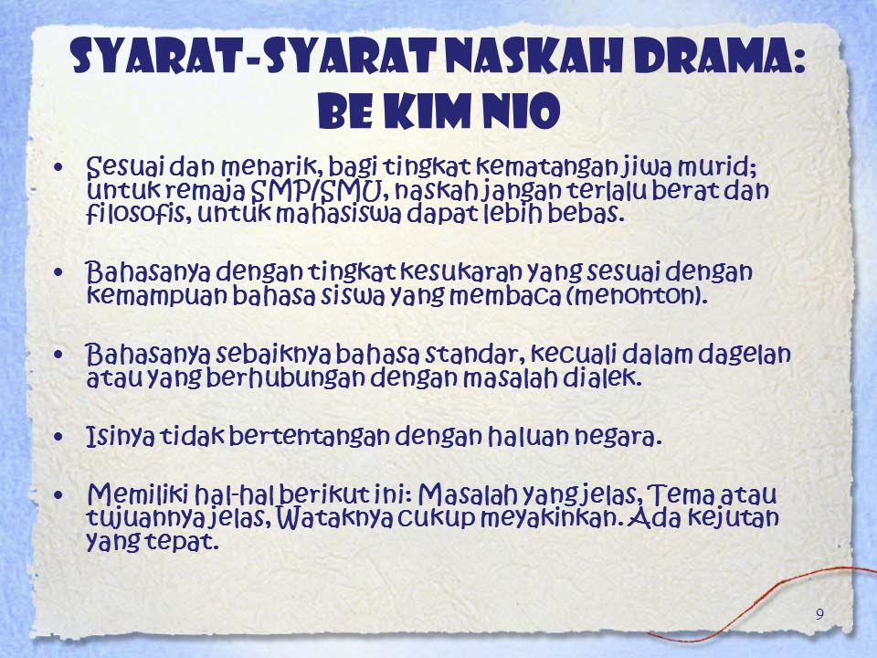Syarat-syarat naskah drama: Be Kim Nio