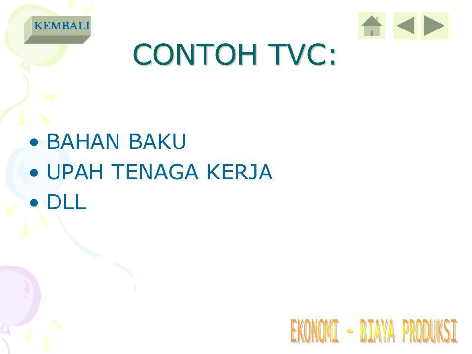 CONTOH TVC: KEMBALI BAHAN BAKU UPAH TENAGA KERJA DLL