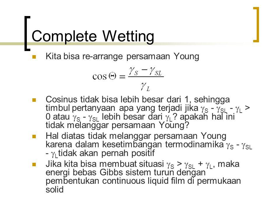 Complete Wetting Kita bisa re-arrange persamaan Young