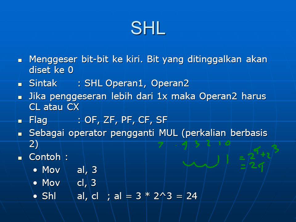 SHL Menggeser bit-bit ke kiri. Bit yang ditinggalkan akan diset ke 0