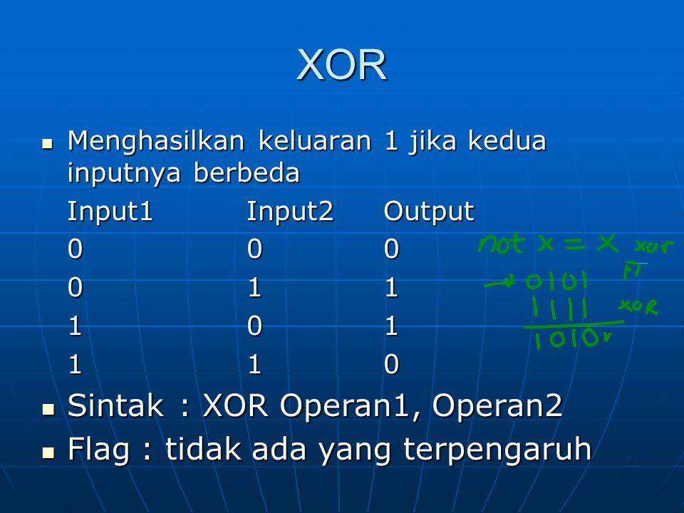 XOR Sintak : XOR Operan1, Operan2 Flag : tidak ada yang terpengaruh