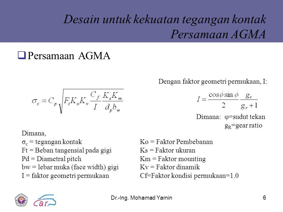 Desain untuk kekuatan tegangan kontak Persamaan AGMA