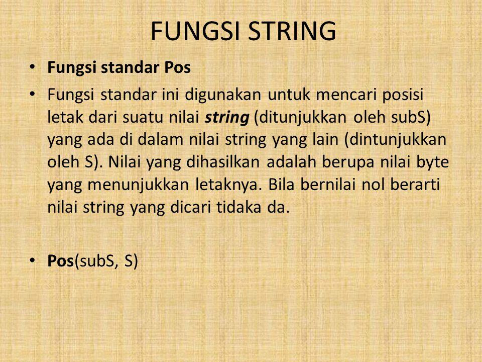 FUNGSI STRING Fungsi standar Pos