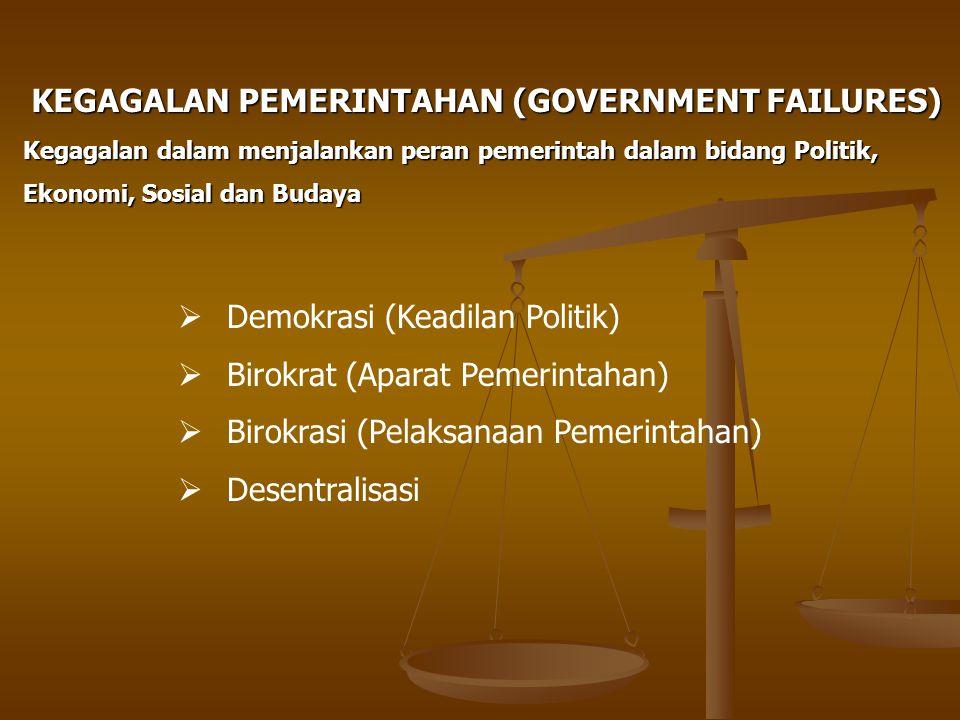 KEGAGALAN PEMERINTAHAN (GOVERNMENT FAILURES)