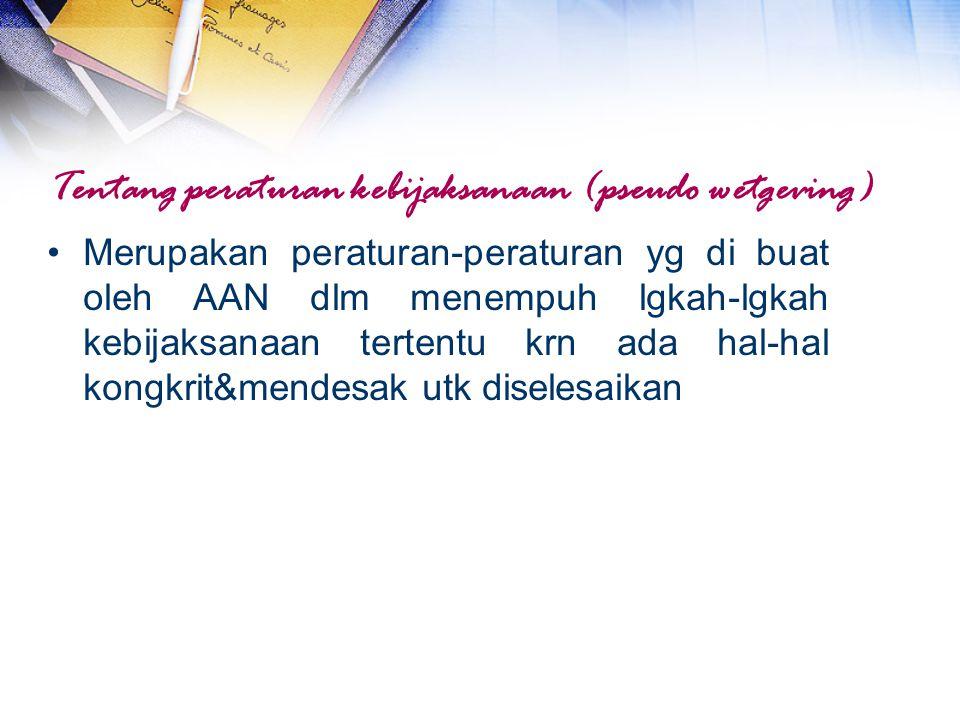 Tentang peraturan kebijaksanaan (pseudo wetgeving)