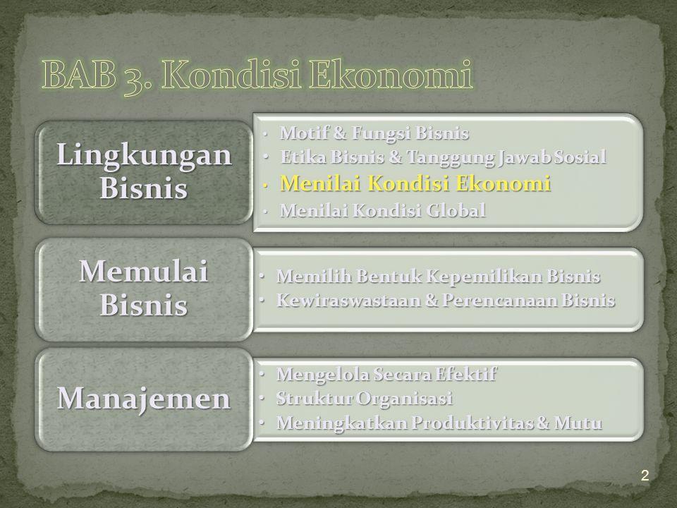 BAB 3. Kondisi Ekonomi Etika Bisnis & Tanggung Jawab Sosial