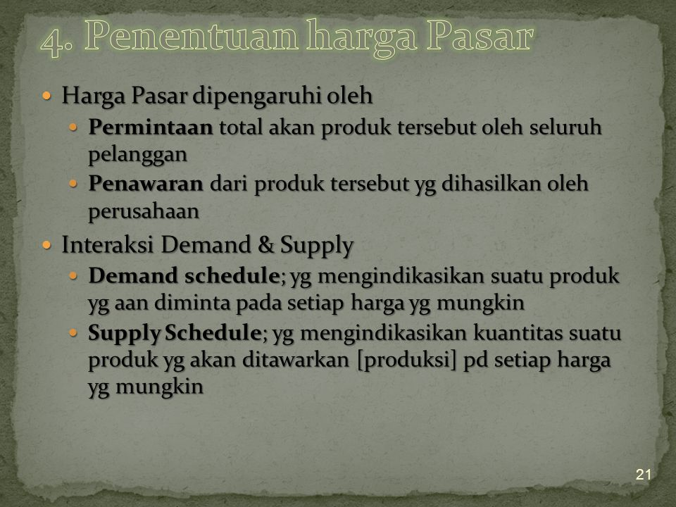 4. Penentuan harga Pasar Harga Pasar dipengaruhi oleh