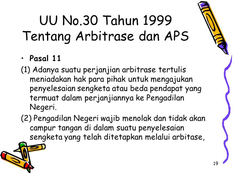UU No.30 Tahun 1999 Tentang Arbitrase dan APS