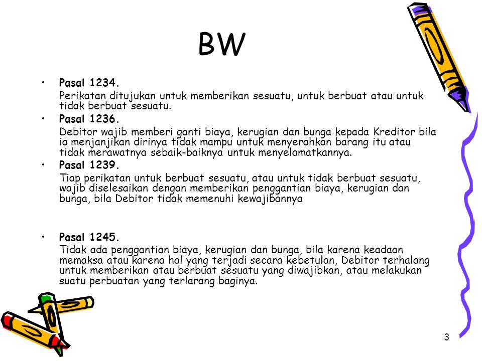BW Pasal 1234. Perikatan ditujukan untuk memberikan sesuatu, untuk berbuat atau untuk tidak berbuat sesuatu.