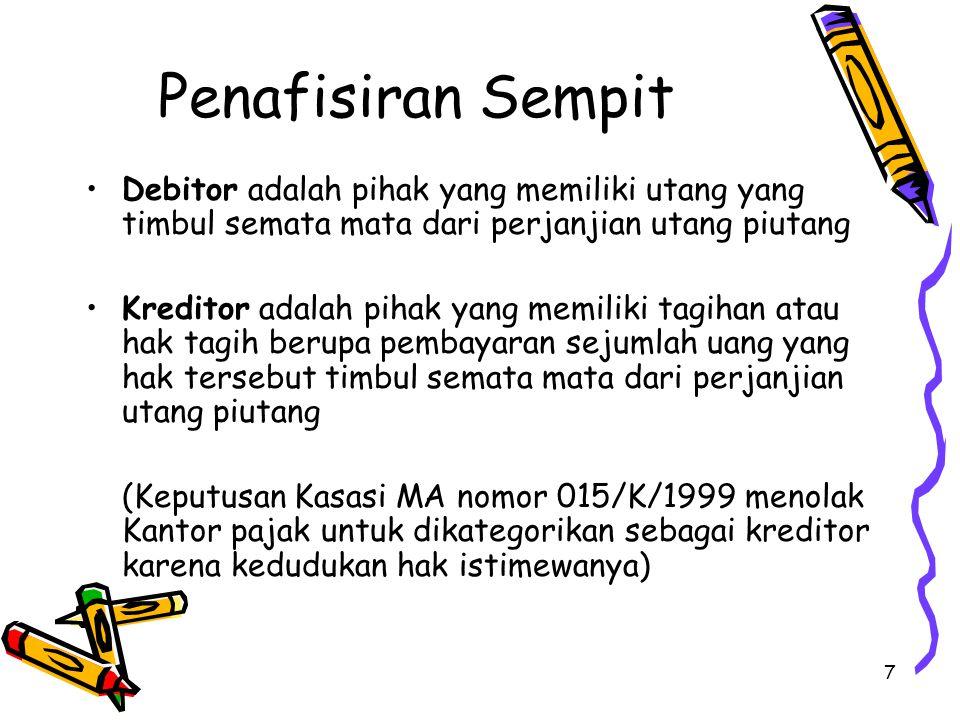 Penafisiran Sempit Debitor adalah pihak yang memiliki utang yang timbul semata mata dari perjanjian utang piutang.