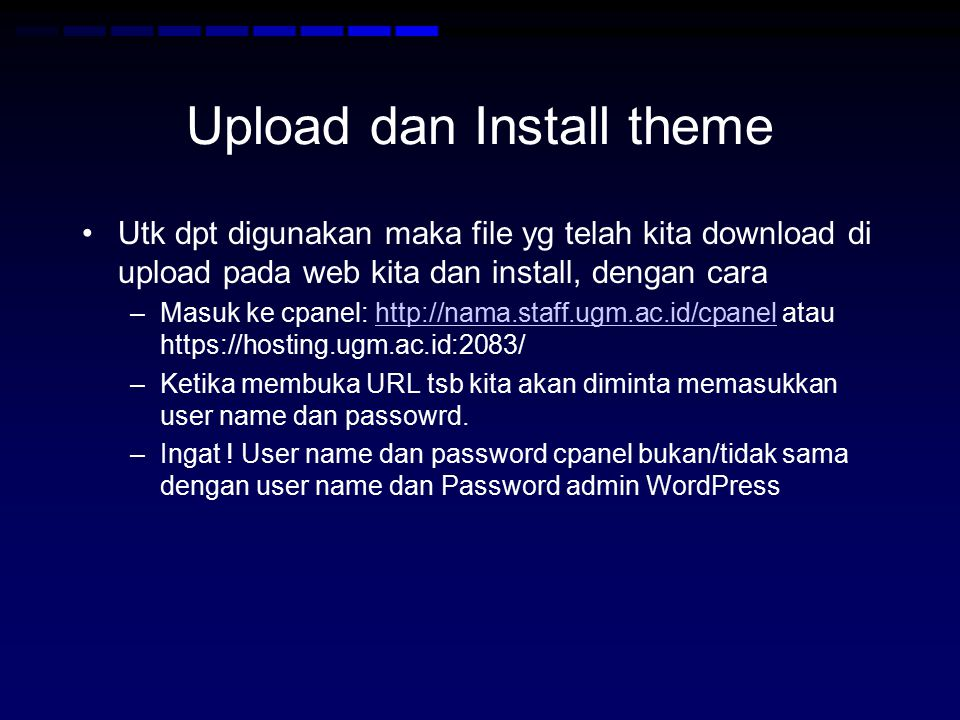 Upload dan Install theme