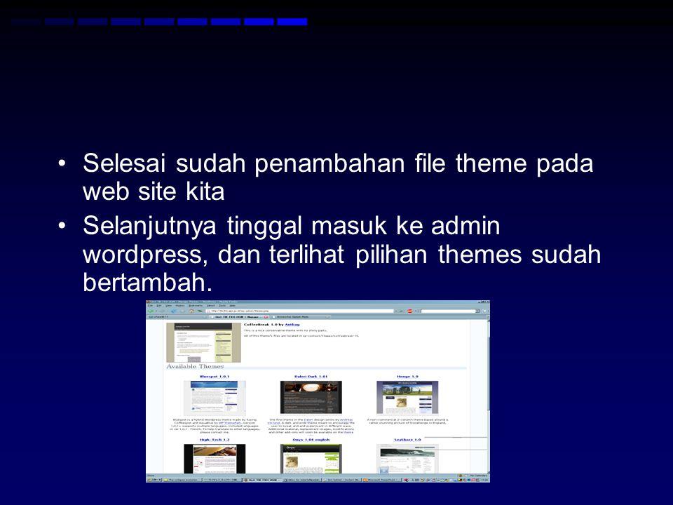 Selesai sudah penambahan file theme pada web site kita