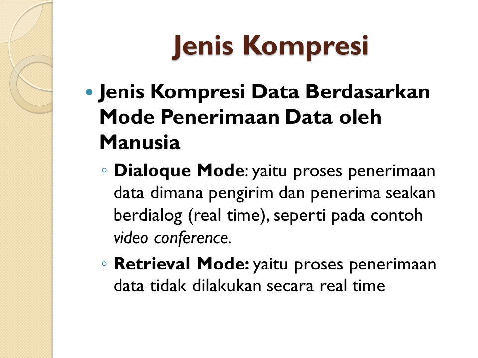 Jenis Kompresi Jenis Kompresi Data Berdasarkan Mode Penerimaan Data oleh Manusia.