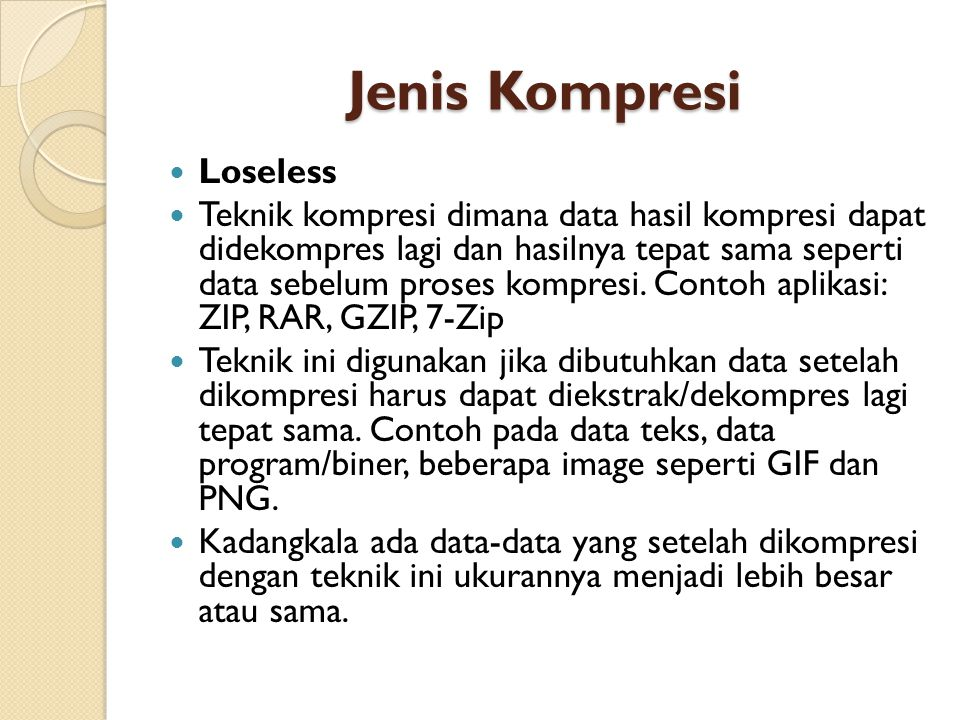 Jenis Kompresi Loseless