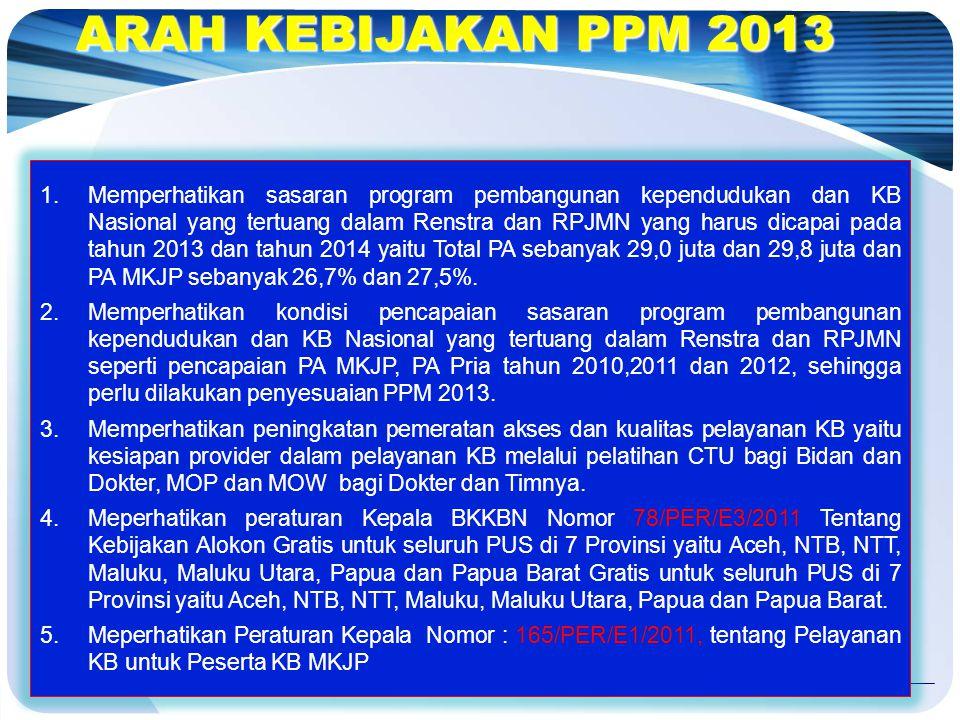 ARAH KEBIJAKAN PPM 2013