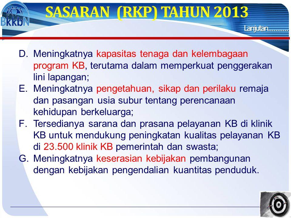 SASARAN (RKP) TAHUN 2013 Lanjutan...........