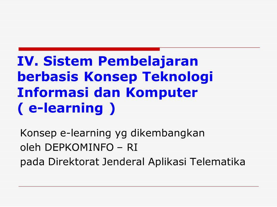 IV. Sistem Pembelajaran berbasis Konsep Teknologi Informasi dan Komputer ( e-learning )