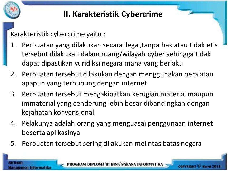 II. Karakteristik Cybercrime