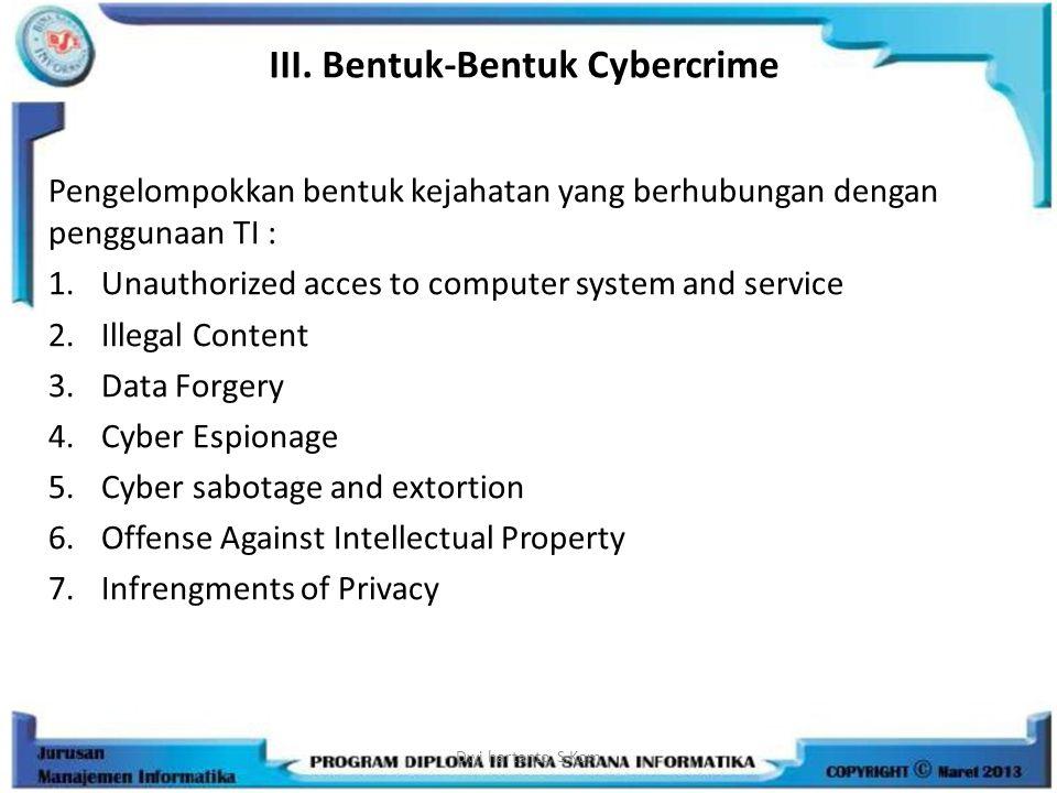 III. Bentuk-Bentuk Cybercrime