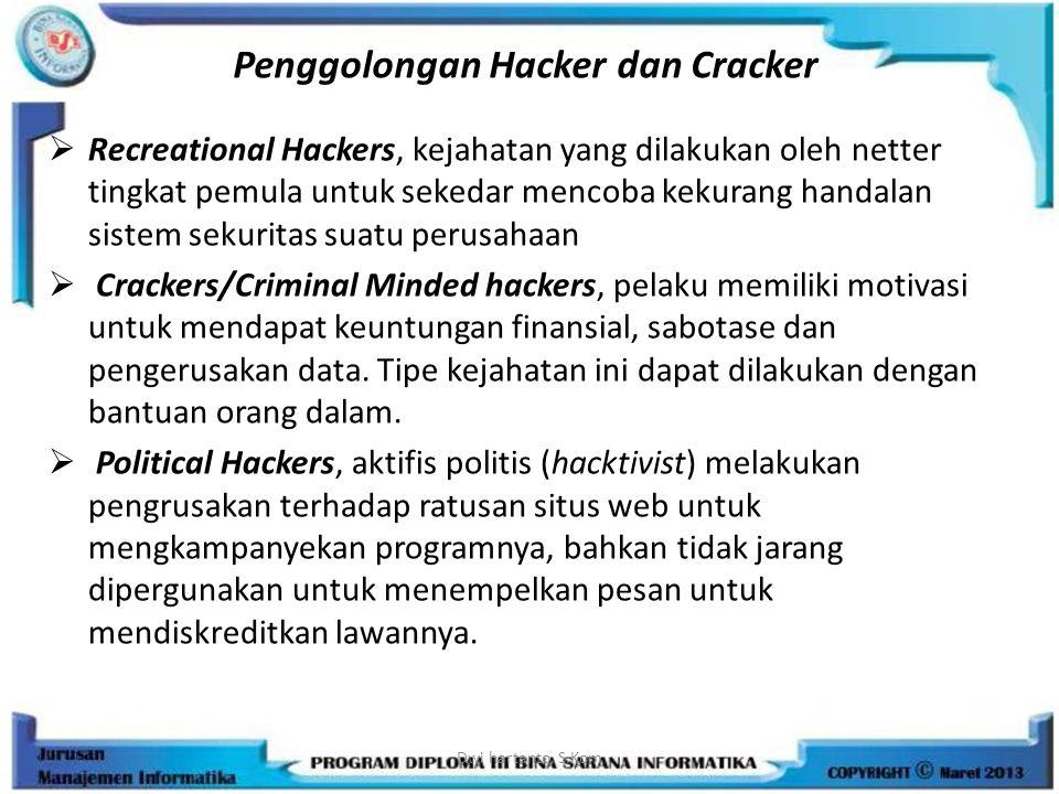 Penggolongan Hacker dan Cracker