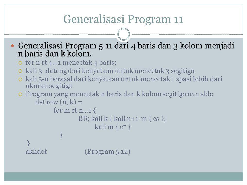 Generalisasi Program 11 Generalisasi Program 5.11 dari 4 baris dan 3 kolom menjadi n baris dan k kolom.