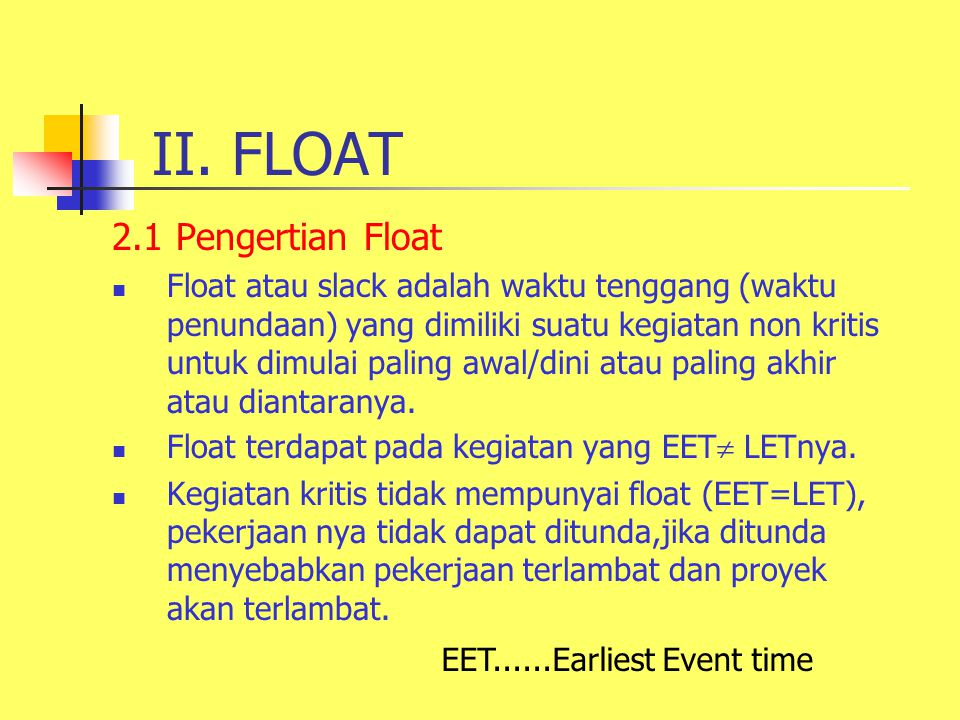 II. FLOAT 2.1 Pengertian Float