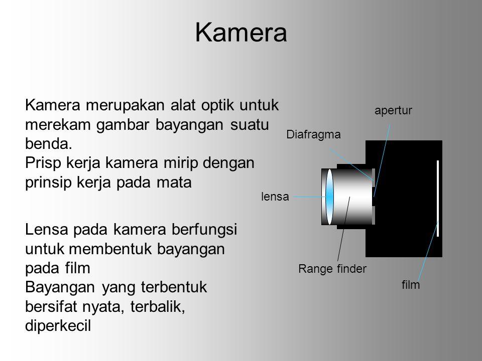 Kamera Kamera merupakan alat optik untuk merekam gambar bayangan suatu benda. Prisp kerja kamera mirip dengan prinsip kerja pada mata.