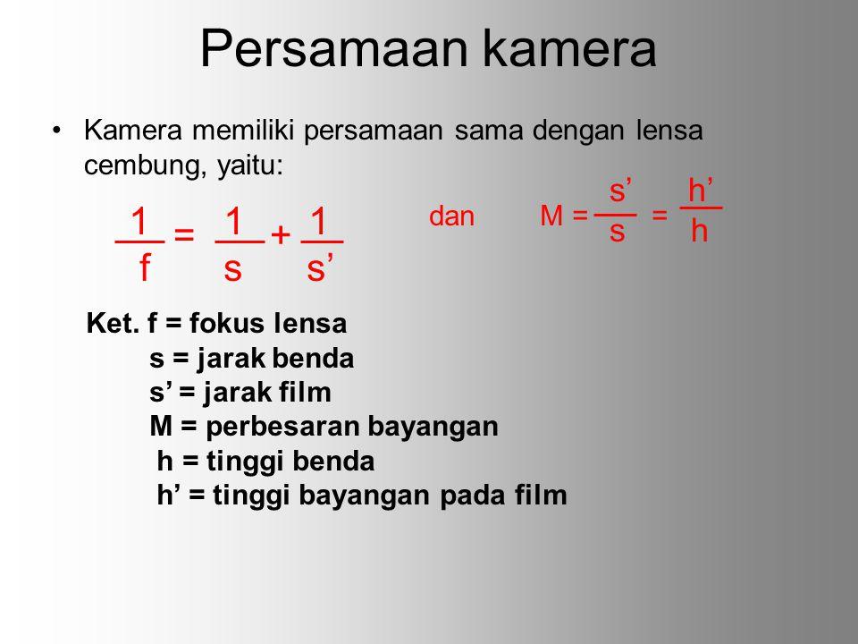 Persamaan kamera 1 1 1 = + f s s' s' h' s h