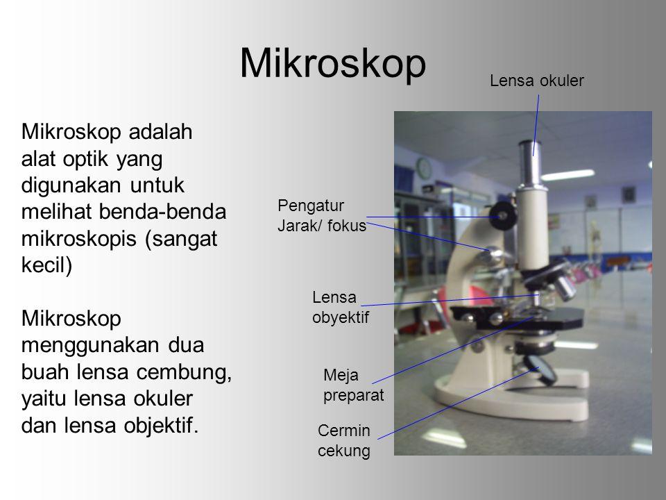Mikroskop Lensa okuler. Mikroskop adalah alat optik yang digunakan untuk melihat benda-benda mikroskopis (sangat kecil)