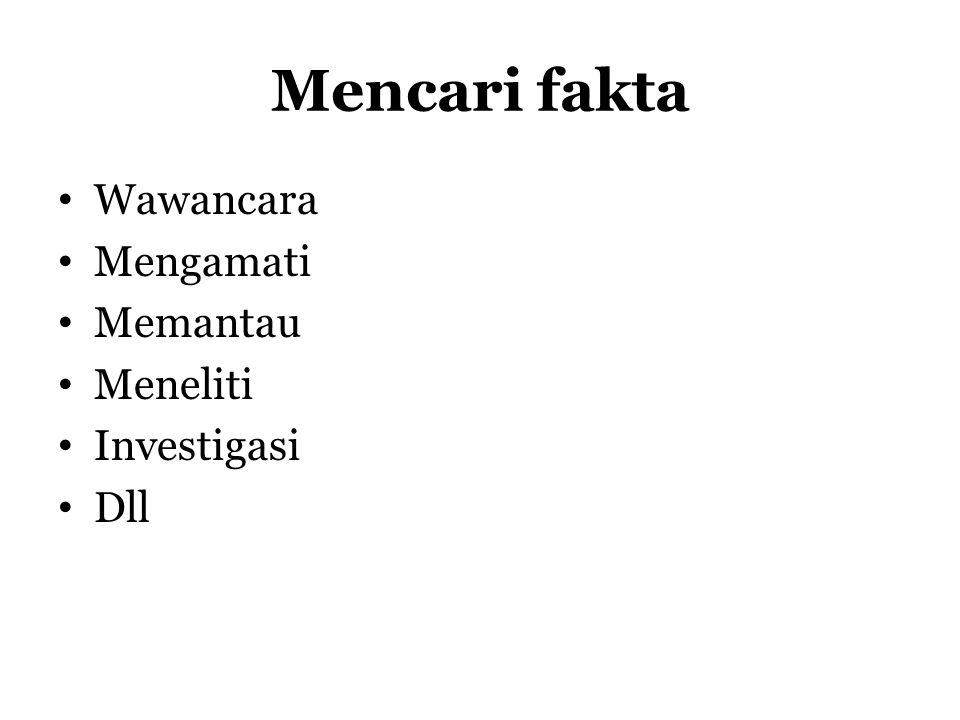 Mencari fakta Wawancara Mengamati Memantau Meneliti Investigasi Dll