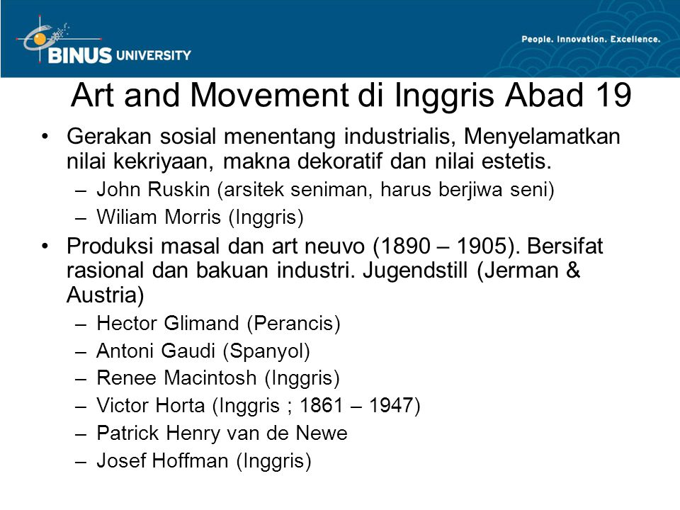 Art and Movement di Inggris Abad 19