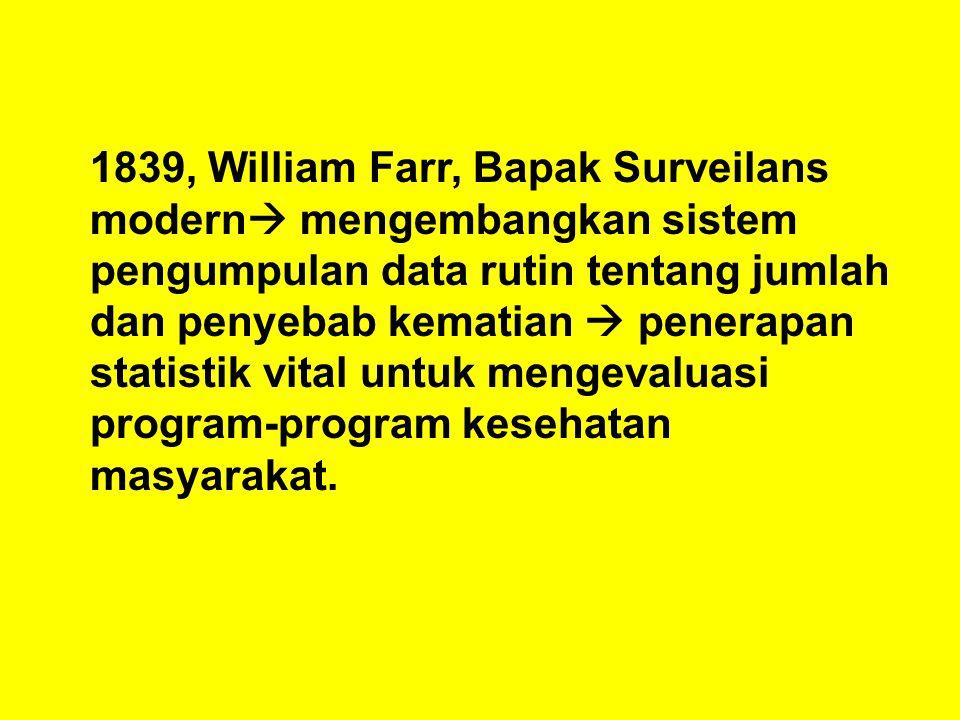 1839, William Farr, Bapak Surveilans modern mengembangkan sistem pengumpulan data rutin tentang jumlah dan penyebab kematian  penerapan statistik vital untuk mengevaluasi program-program kesehatan masyarakat.