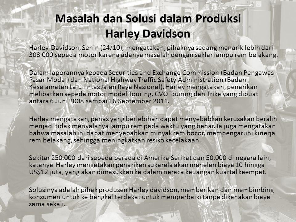 Masalah dan Solusi dalam Produksi Harley Davidson