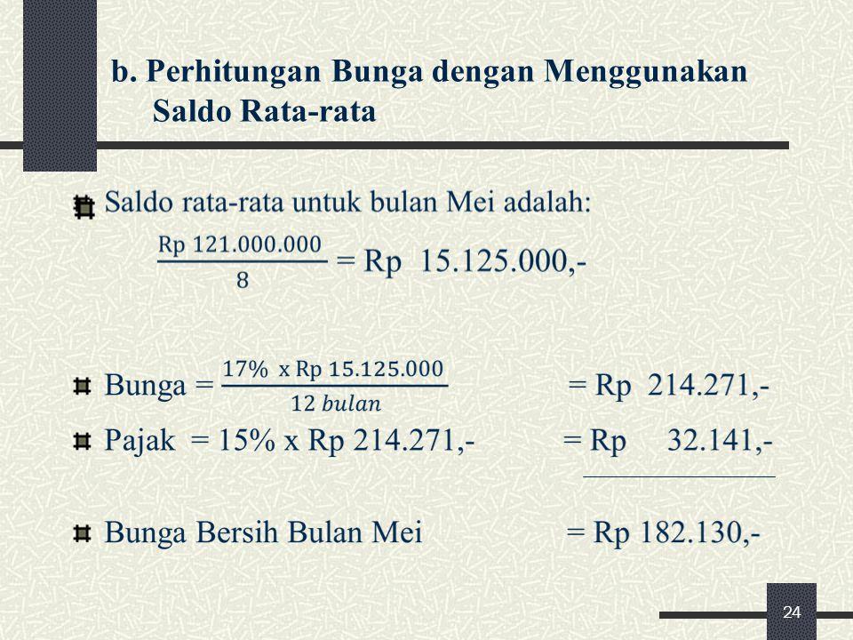 b. Perhitungan Bunga dengan Menggunakan Saldo Rata-rata