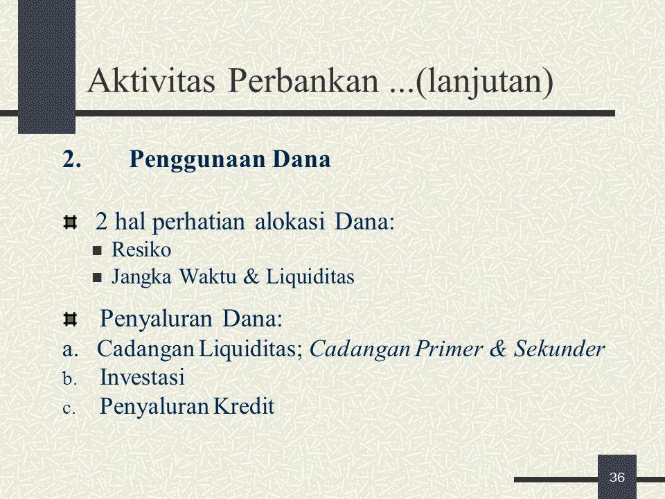 Aktivitas Perbankan ...(lanjutan)