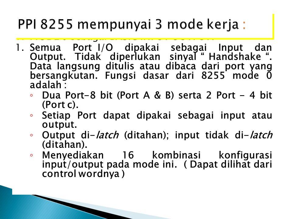 PPI 8255 mempunyai 3 mode kerja :