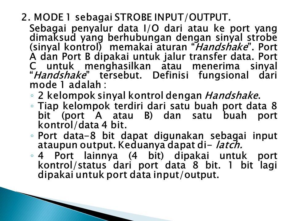 2. MODE 1 sebagai STROBE INPUT/OUTPUT.