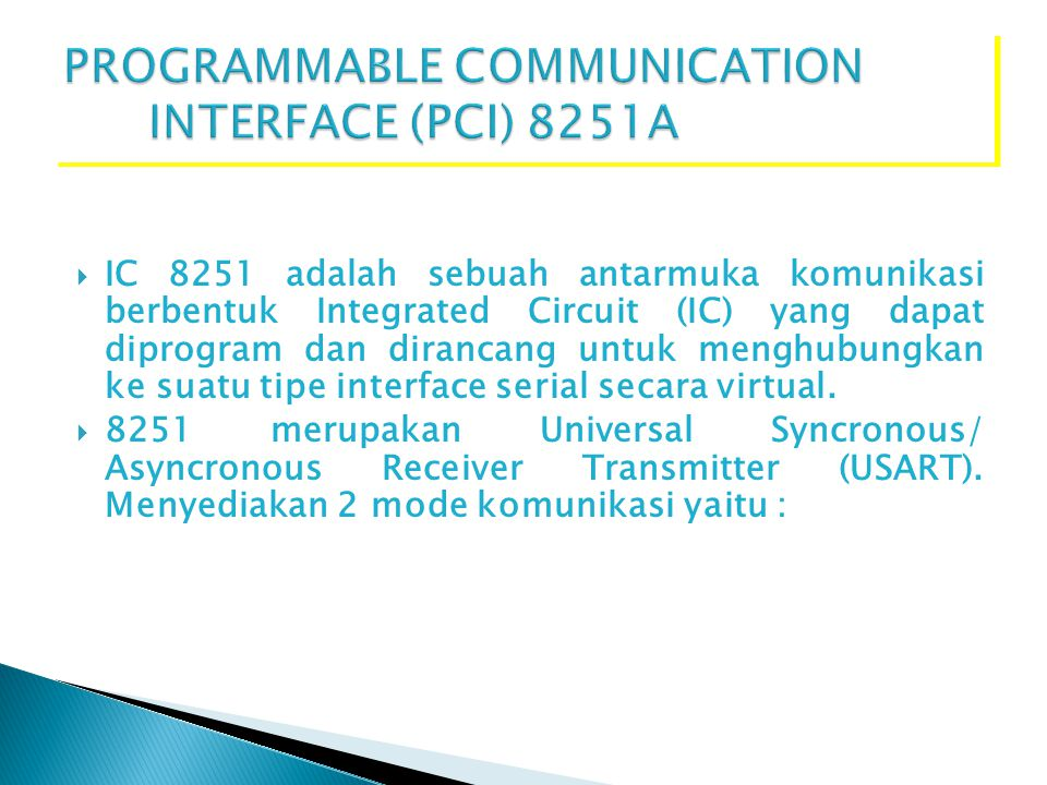 PROGRAMMABLE COMMUNICATION INTERFACE (PCI) 8251A
