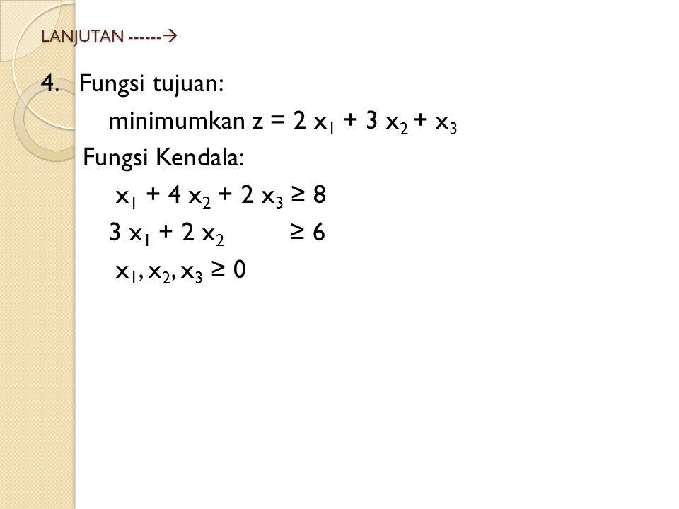 4. Fungsi tujuan: minimumkan z = 2 x1 + 3 x2 + x3 Fungsi Kendala: