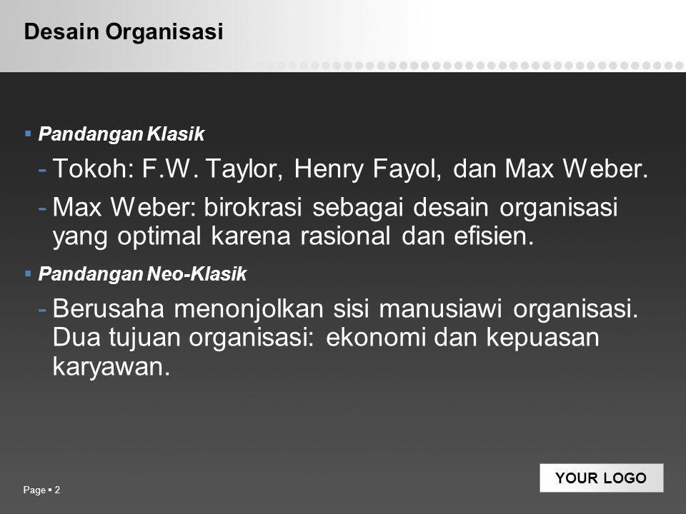 Tokoh: F.W. Taylor, Henry Fayol, dan Max Weber.
