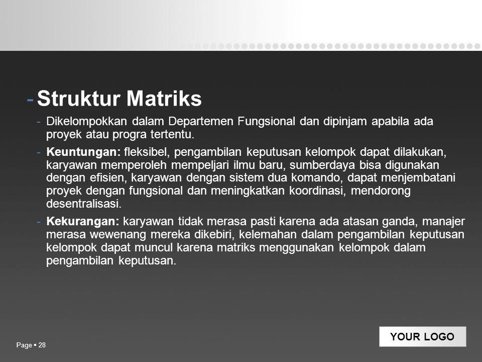 Struktur Matriks Dikelompokkan dalam Departemen Fungsional dan dipinjam apabila ada proyek atau progra tertentu.