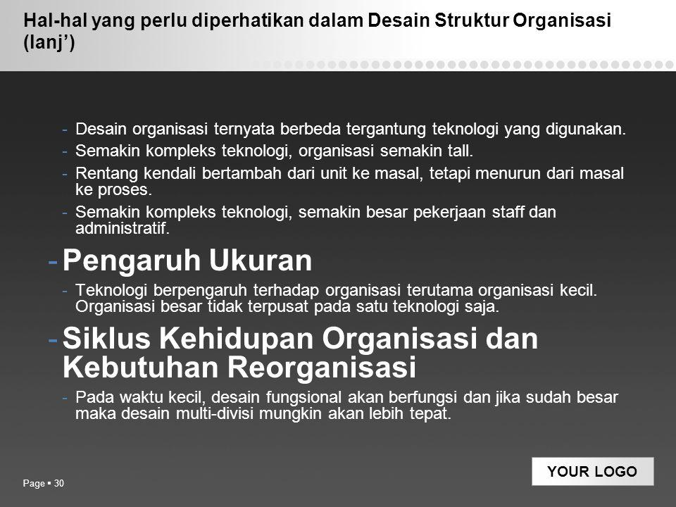 Siklus Kehidupan Organisasi dan Kebutuhan Reorganisasi