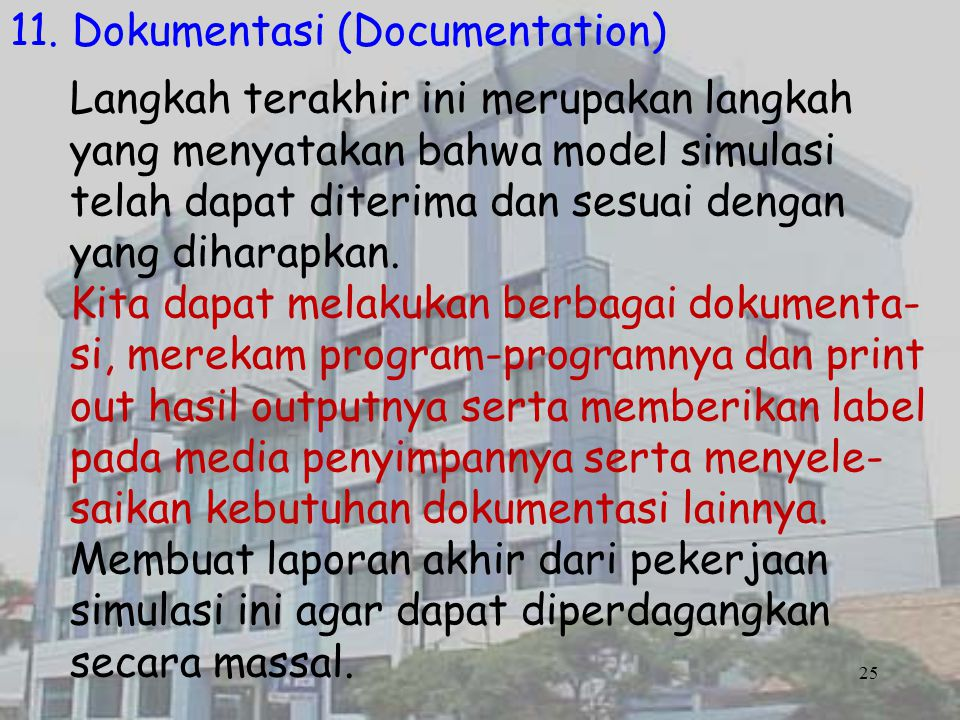 11. Dokumentasi (Documentation)